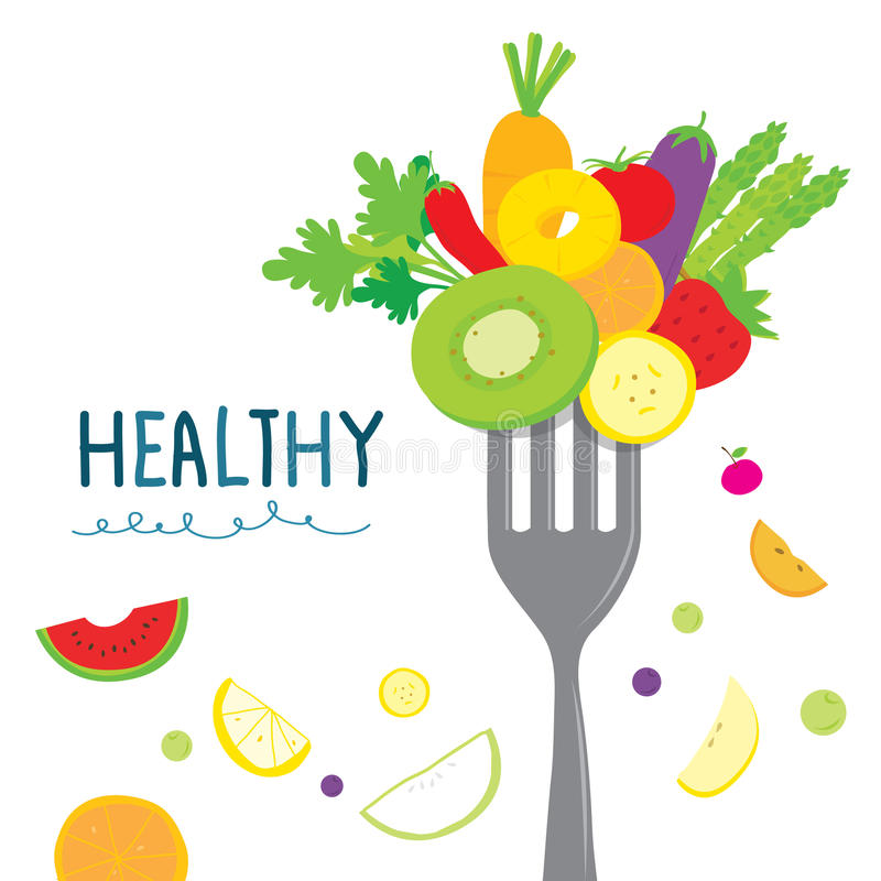 Здоровая диета овоща плодоовощ ест полезный вектор шаржа витамина иллюстрация штока