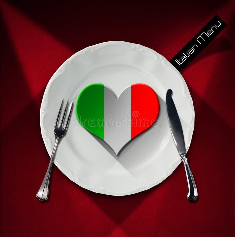 Здоровая итальянская еда - дизайн меню ресторана иллюстрация штока