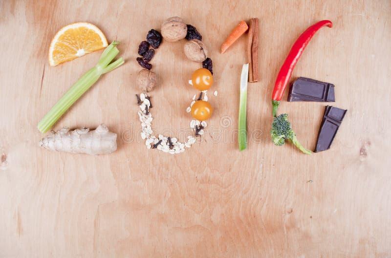 Здоровая концепция еды 2016 стоковое изображение rf