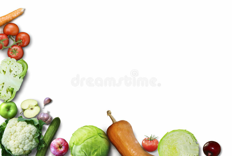 Здоровая предпосылка еды Предпосылка белизны фруктов и овощей фотографии еды различная скопируйте космос Высокое разрешение стоковые фото