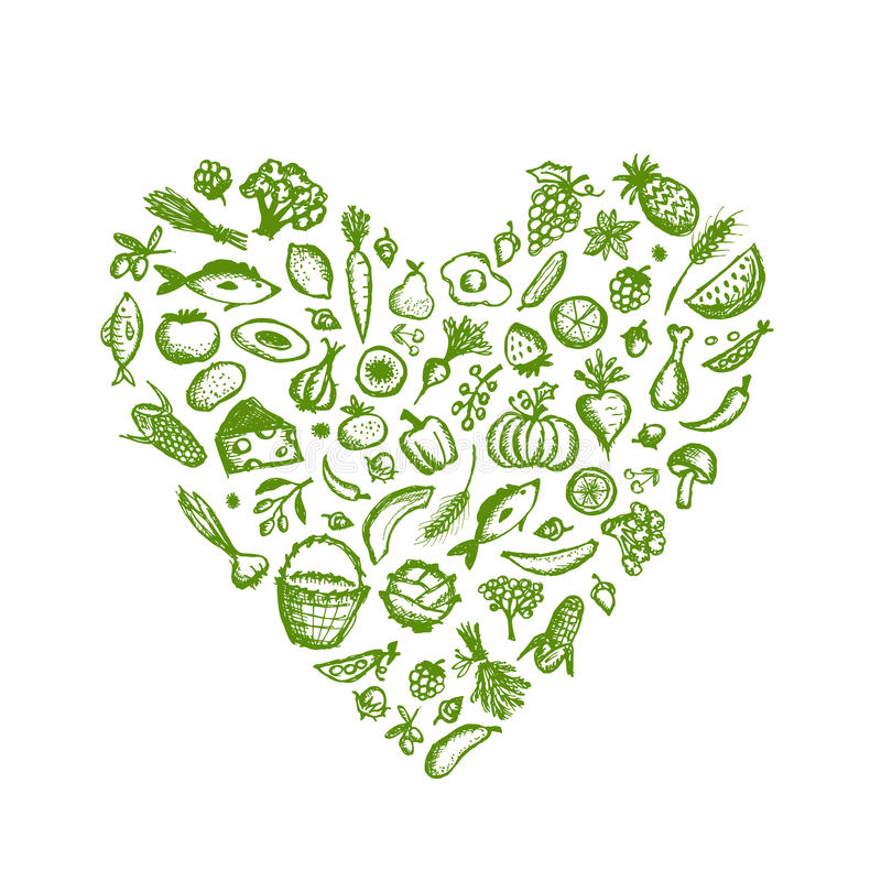 Здоровая предпосылка еды, эскиз формы сердца для иллюстрация вектора