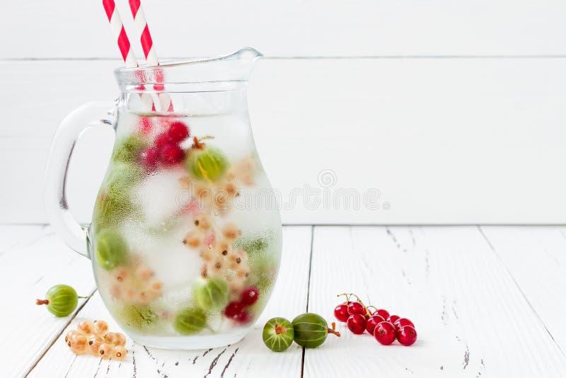 Здоровая ягода вытрезвителя настояла приправленная вода Лето освежая домодельное питье с крыжовниками и белой и красной смородино стоковые изображения