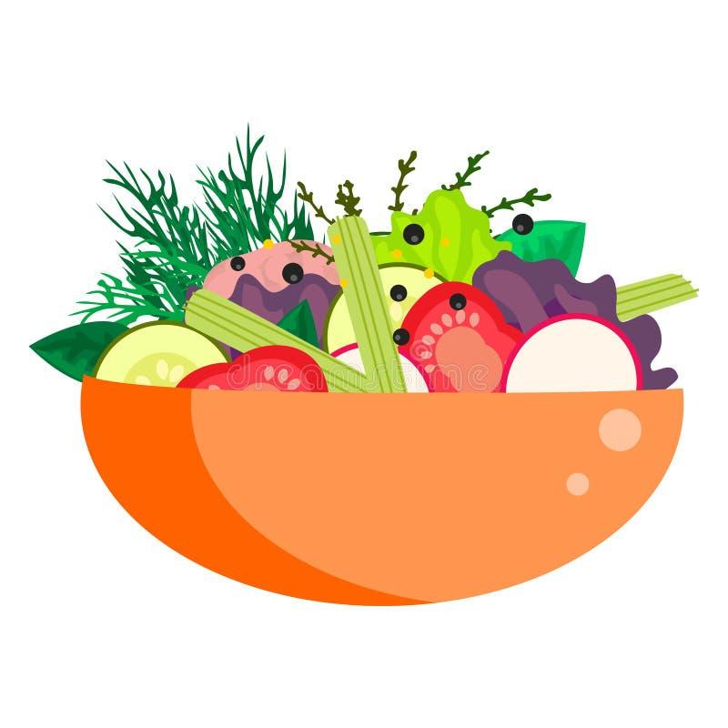 Здоровая vegetable салатница лета иллюстрация вектора