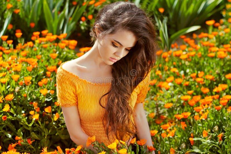 Здоровое длинное вьющиеся волосы. Красивая женщина брюнет над ноготк стоковая фотография rf