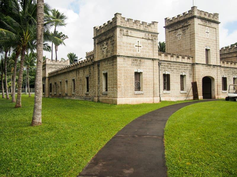 Здоровое Koa barracks здание на дворце Гонолулу Гаваи Iolani стоковая фотография