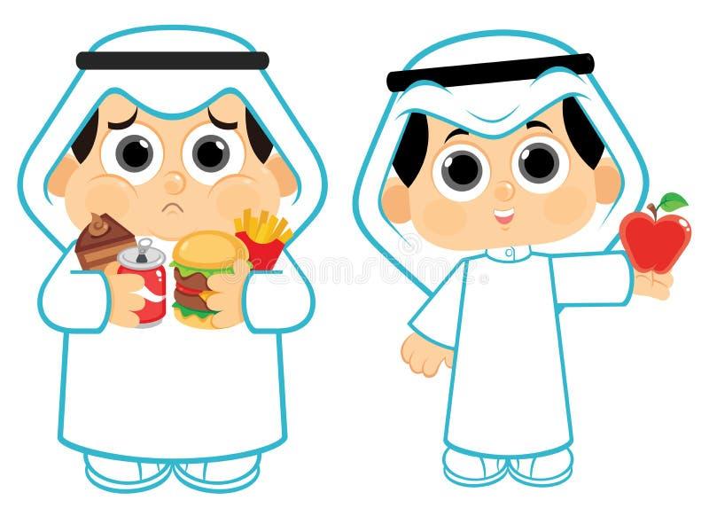 Здоровые еда и высококалорийная вредная пища бесплатная иллюстрация