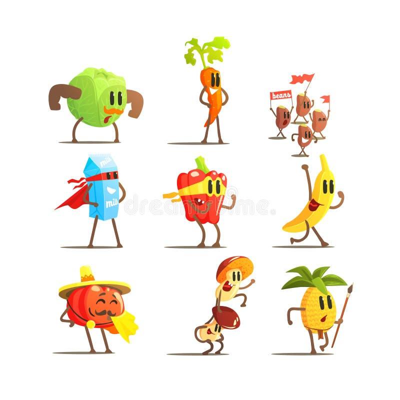 Здоровые установленные персонажи из мультфильма еды иллюстрация вектора