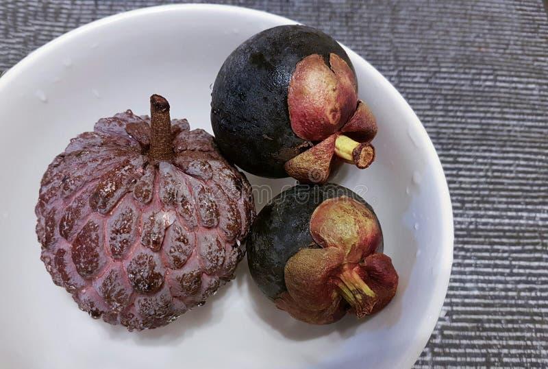 Здоровый анти- пурпур рака приносить - заварной крем и мангустаны Яблока стоковая фотография rf