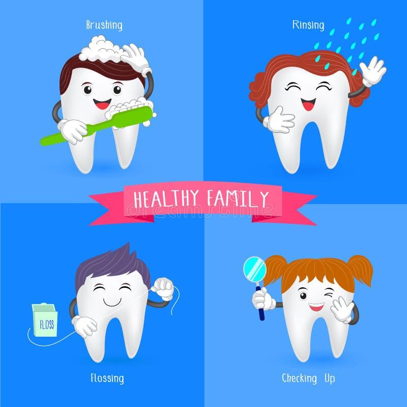 Здоровый зуб семьи иллюстрация вектора
