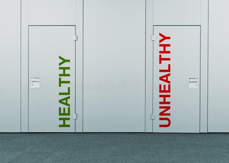 Здоровый или нездоровый, концепция выбора стоковое фото rf