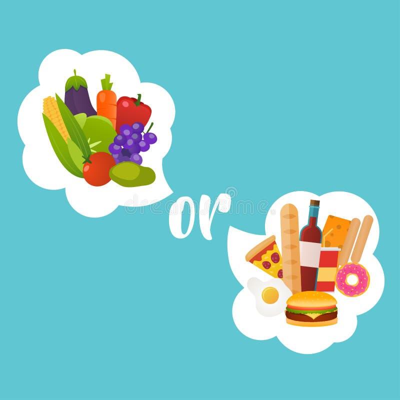 Здоровый или фаст-фуд Concep диеты, питания, фитнеса и здоровья иллюстрация вектора