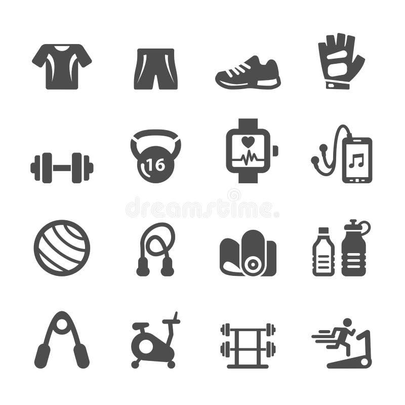 Здоровый комплект значка оборудования фитнеса, вектор eps10 иллюстрация вектора