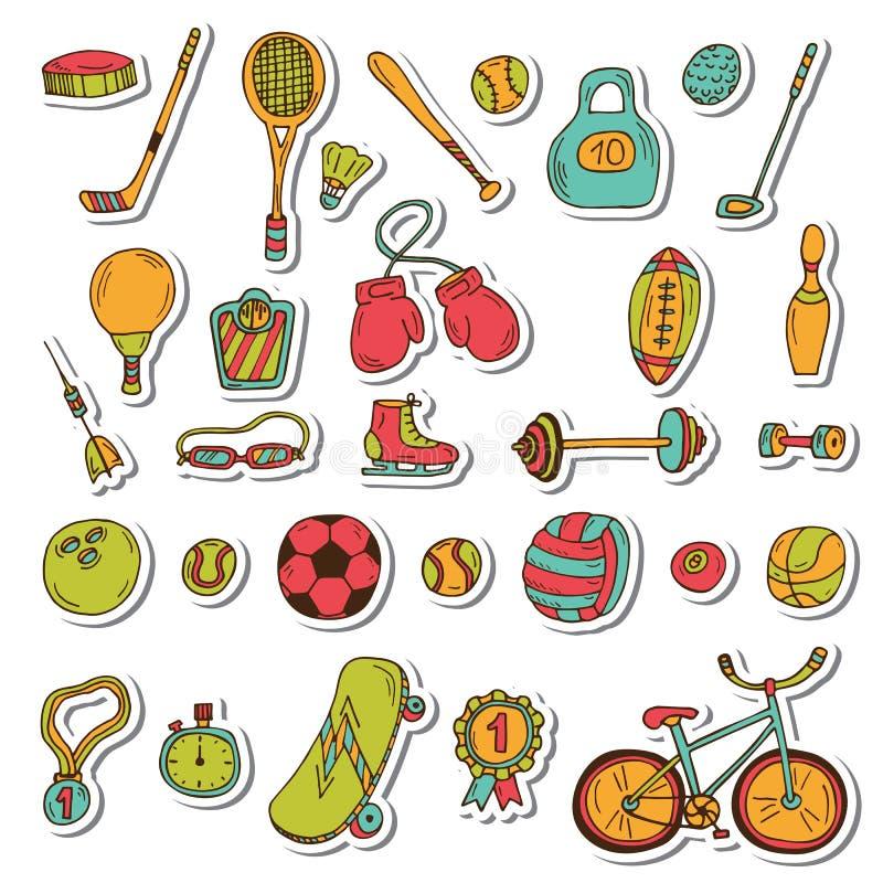 Здоровый комплект стикера образа жизни спорт 2 силуэтов игроков икон футбола шарика Doodle нарисованный рукой fi иллюстрация вектора