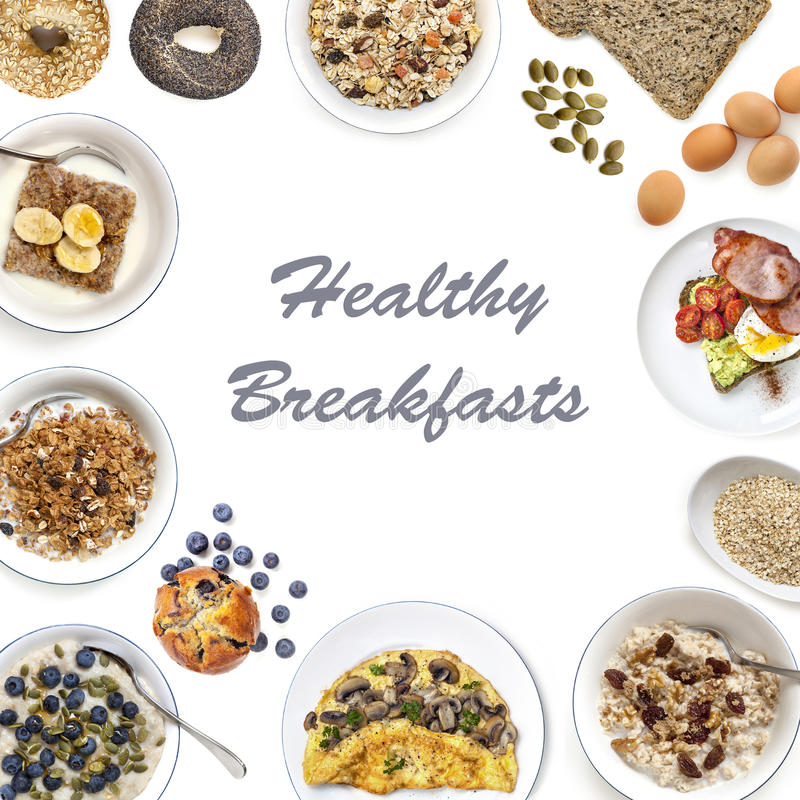 Здоровый коллаж завтраков стоковое фото