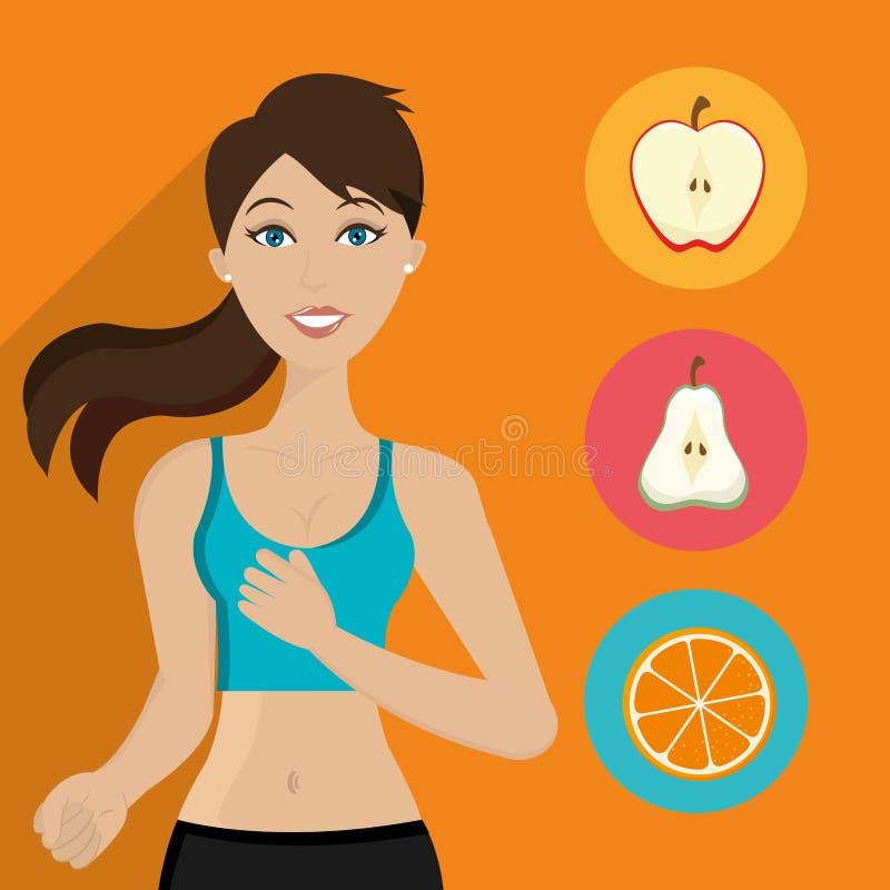 Здоровый образ жизни фитнеса иллюстрация штока