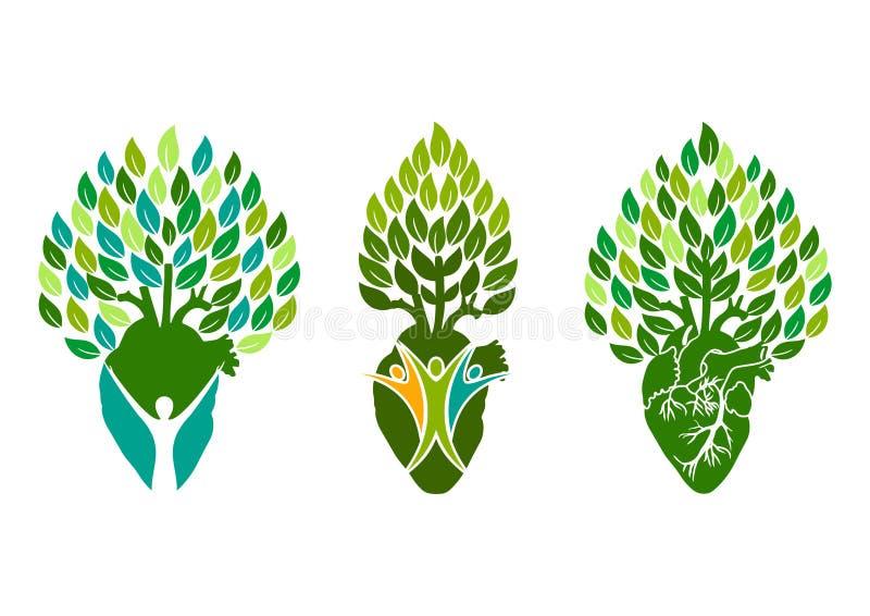 Здоровый логотип сердца, символ людей дерева, дизайн концепции сердца здоровья бесплатная иллюстрация