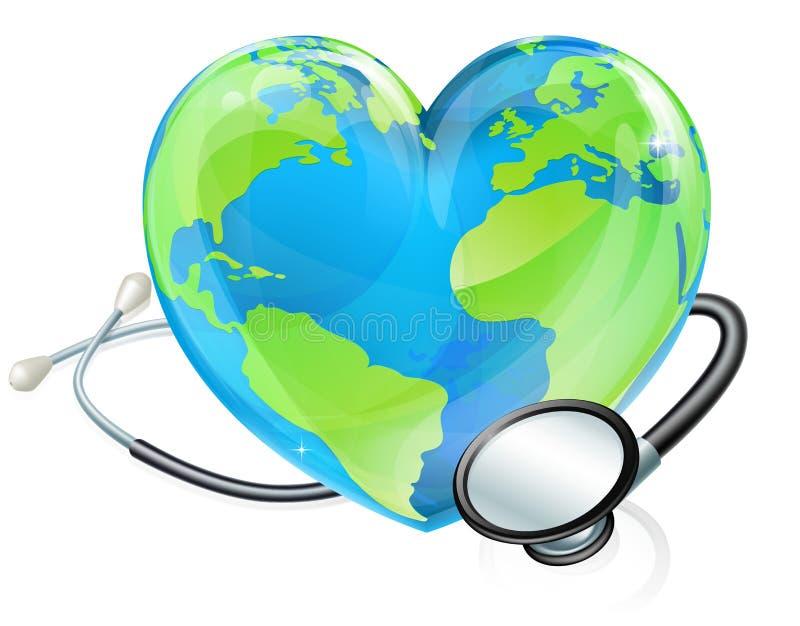 Здоровье глобуса мира земли сердца стетоскопа концепции иллюстрация вектора