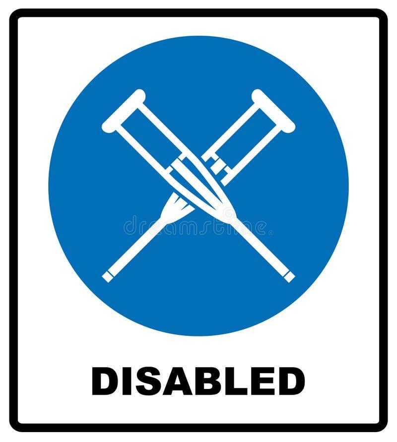 Здоровье crutches значок плоско Изолированный иллюстрацией символ знака вектора Неработающие значки, просят помощь Знамя извещени бесплатная иллюстрация