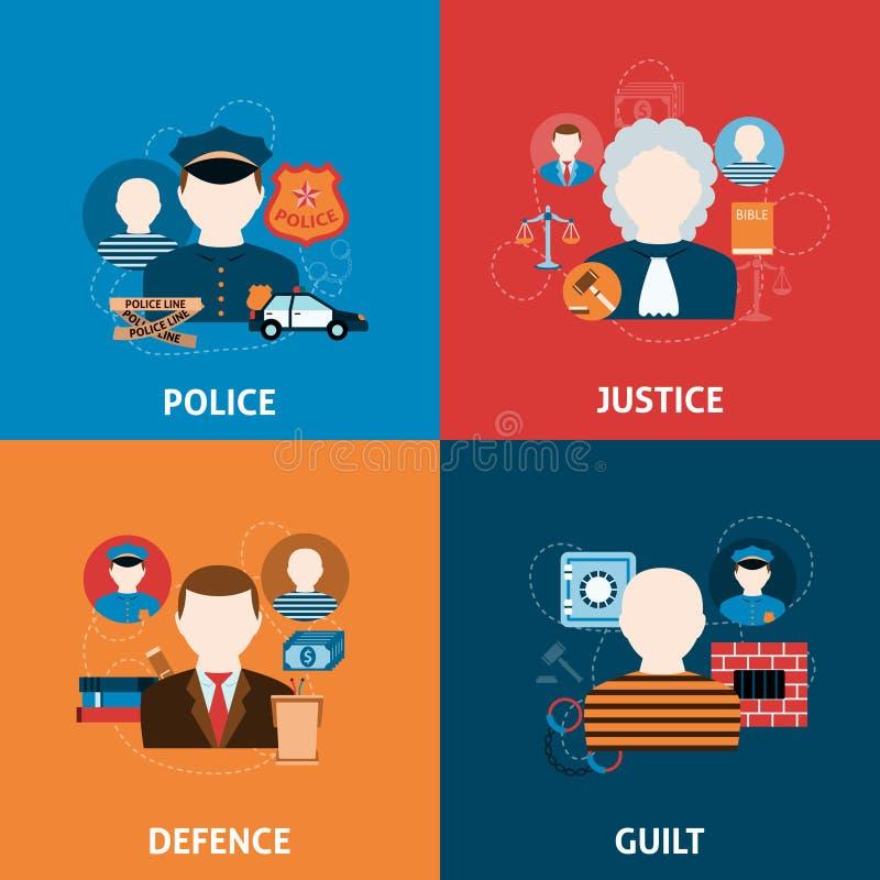 Злодеяние и состав значков наказаний плоский бесплатная иллюстрация