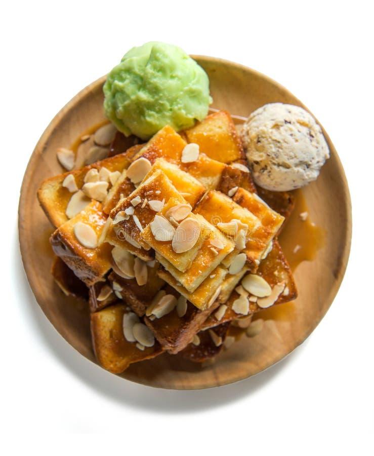 здравица и мороженое меда на хлебе стоковые изображения rf