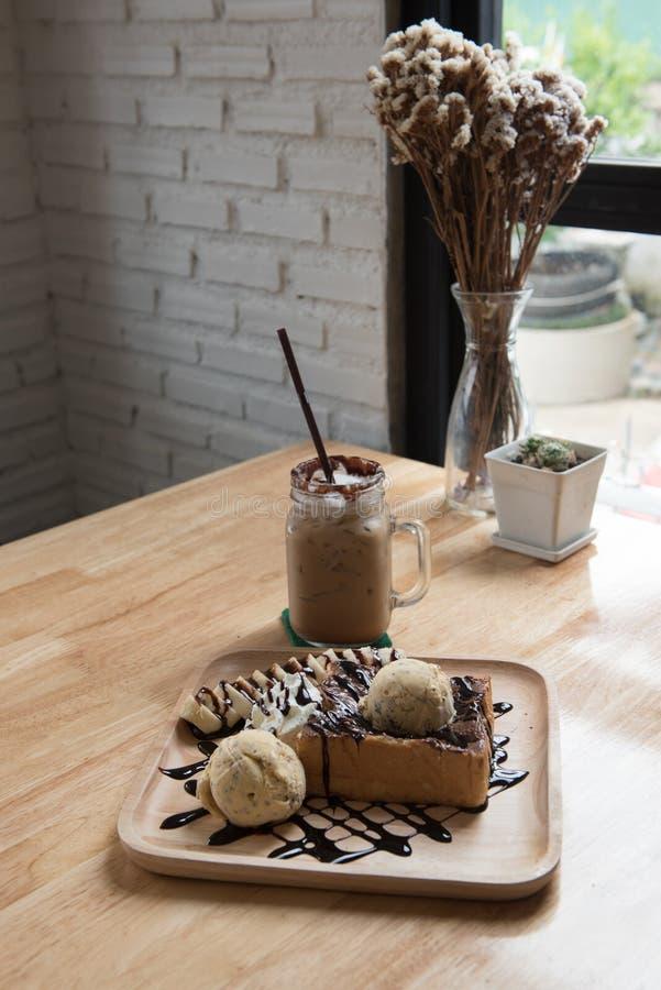 Здравица меда мороженого и кофе льда стоковая фотография rf