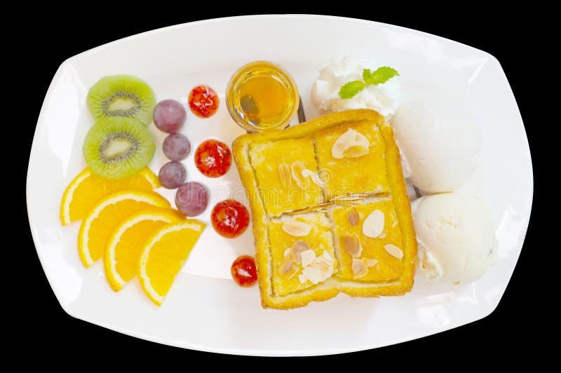 Здравица меда с смешанными плодоовощ и мороженым стоковые фотографии rf