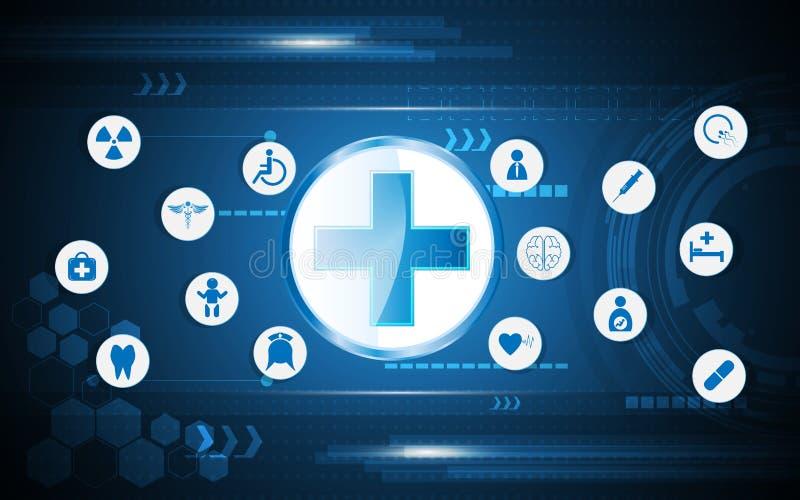 Здравоохранение вектора абстрактные и предпосылка концепции технологии иллюстрация вектора
