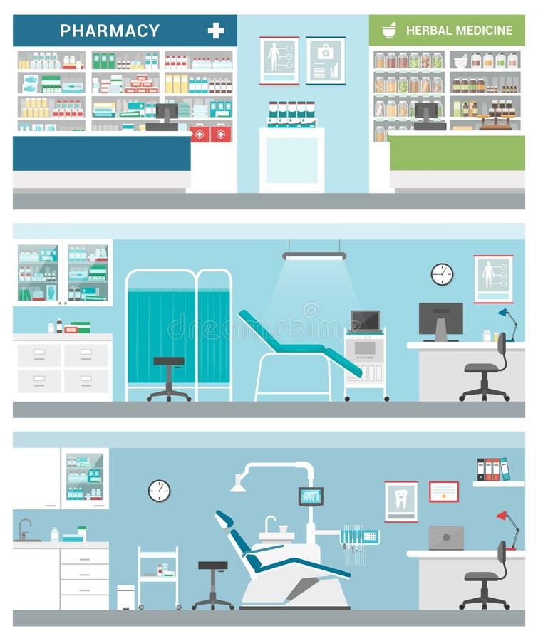Здравоохранение и клиники бесплатная иллюстрация