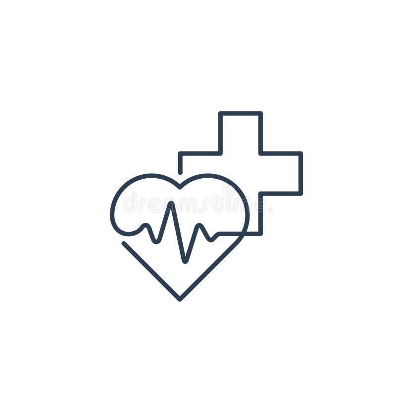 Здравоохранение и медицинская концепция логотипа и значка, сердце и крест, линия ИМПа ульс иллюстрация штока