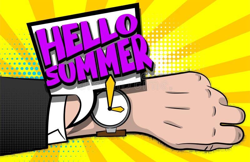 Здравствуйте! вахта руки искусства шипучки текста лета шуточный иллюстрация вектора