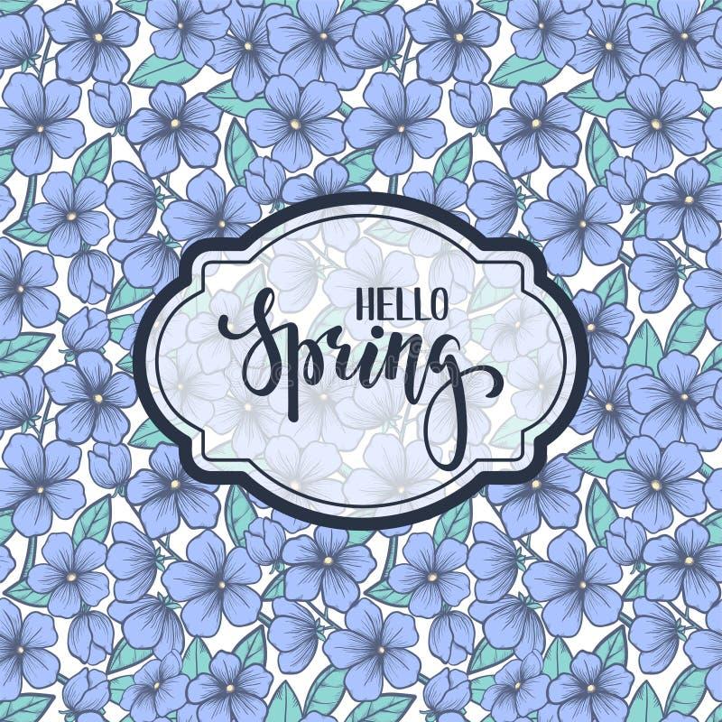 Здравствуйте! весна Нарисованная рукой литерность ручки щетки на зацветая картине дерева иллюстрация штока