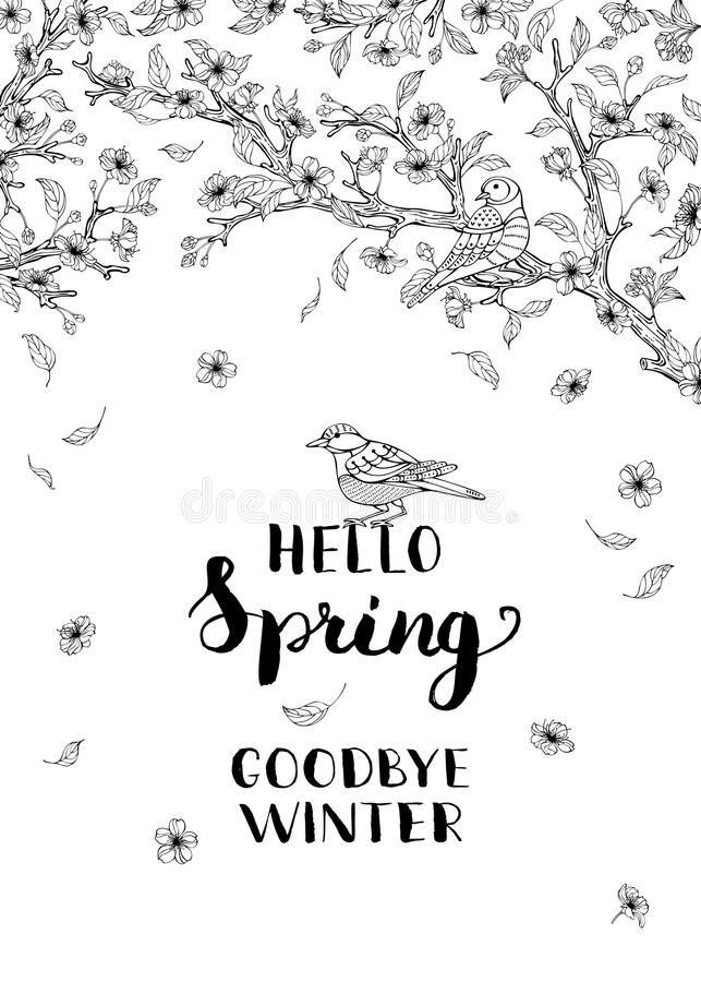 Здравствуйте! весна, до свидания зима! иллюстрация штока