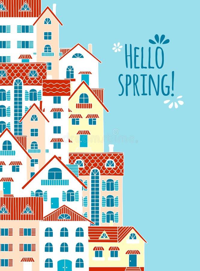 Здравствуйте! весна! Состав домов бесплатная иллюстрация