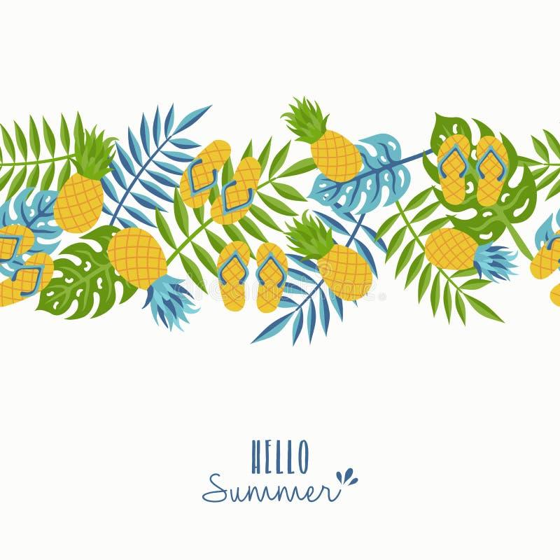 Здравствуйте! дизайн картины ананаса лета тропический иллюстрация вектора