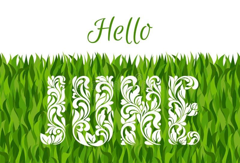 Здравствуйте! июнь Декоративный шрифт сделанный в свирлях и флористических элементах бесплатная иллюстрация