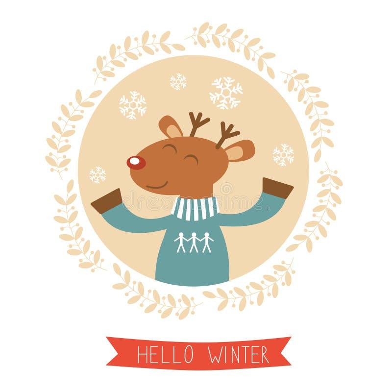 Здравствуйте! карточка зимы с милым портретом мальчика оленей иллюстрация вектора