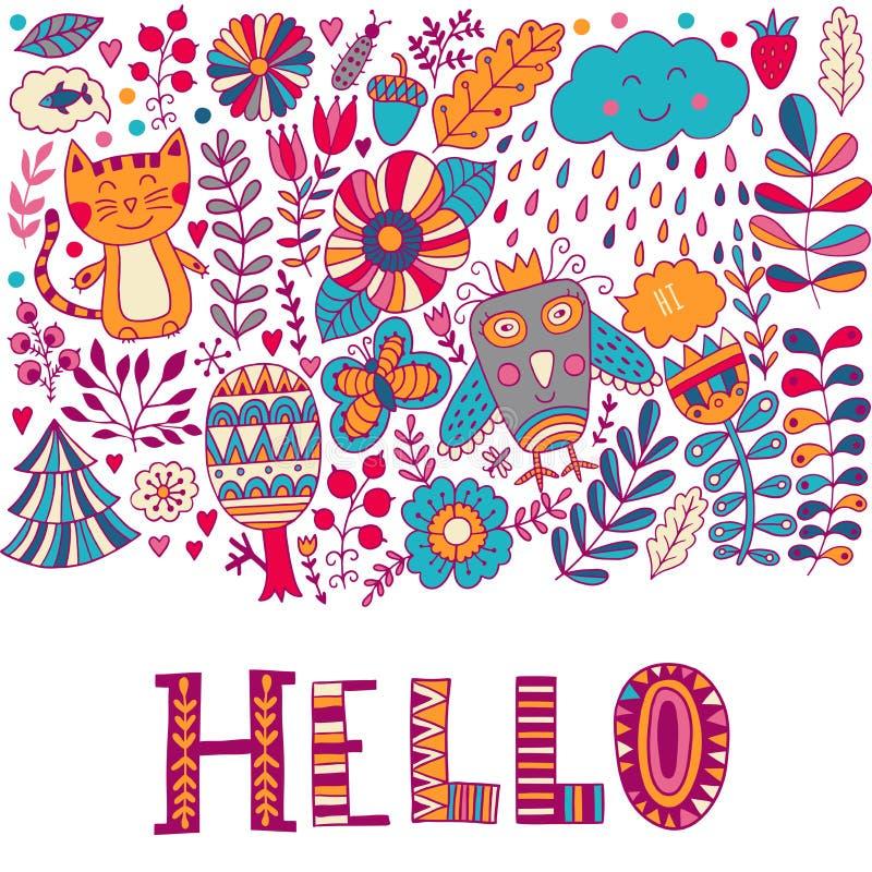 Здравствуйте! карточка иллюстрации литерности, лечит ребяческий дизайн: doodles, кот и сыч цветка иллюстрация штока