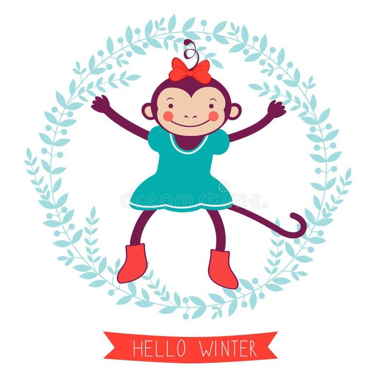 Здравствуйте! карточка концепции зимы с обезьяной - символом  иллюстрация вектора