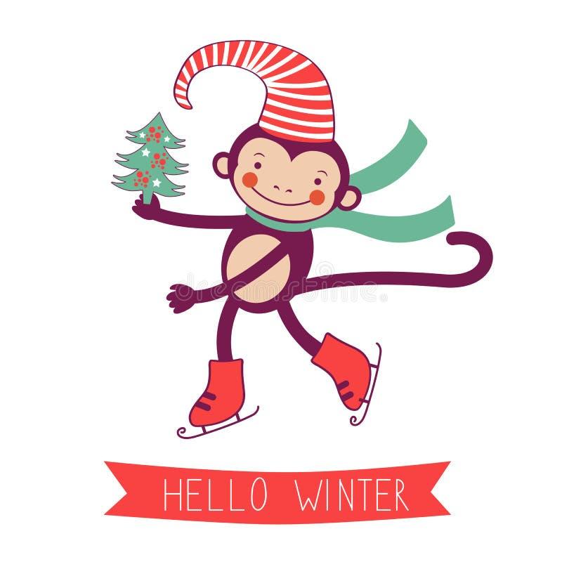 Здравствуйте! карточка концепции зимы с обезьяной - символом  бесплатная иллюстрация