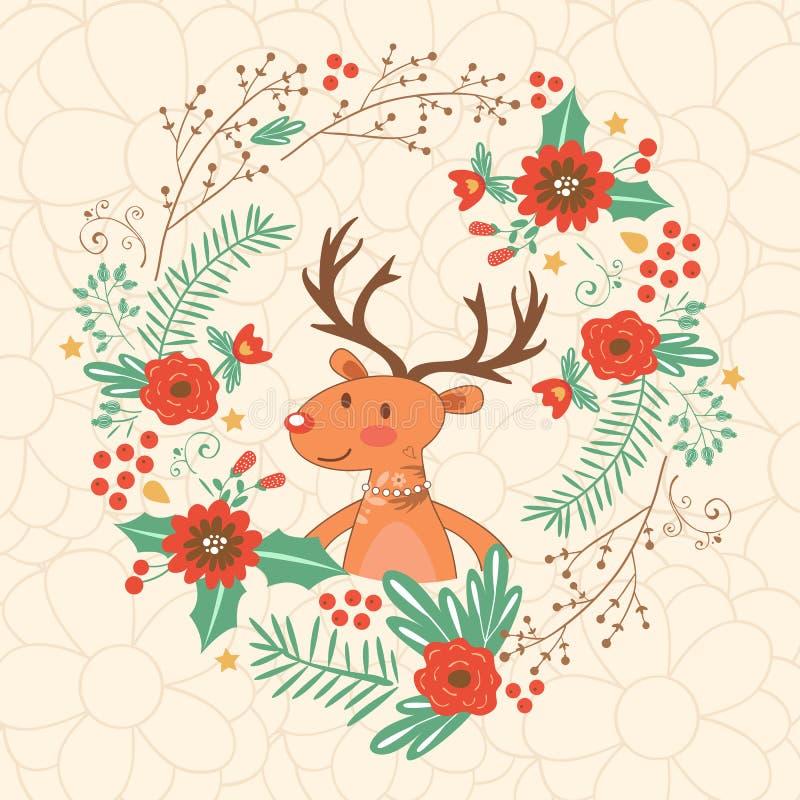 Здравствуйте! моя карточка влюбленности с оленями иллюстрация штока