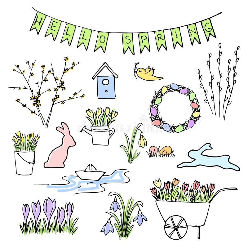 Здравствуйте! покрашенный весной комплект эскиза Первые цветки, садовничая и помечая буквами иллюстрация штока