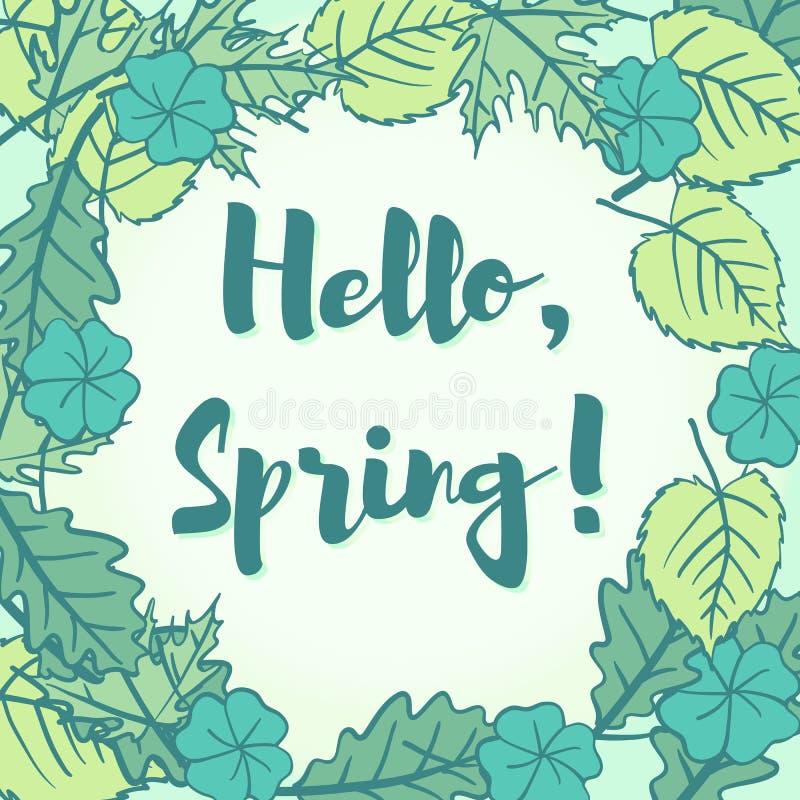 Здравствуйте! приветствие весны в пузыре речи свежего нового молодого gree иллюстрация вектора