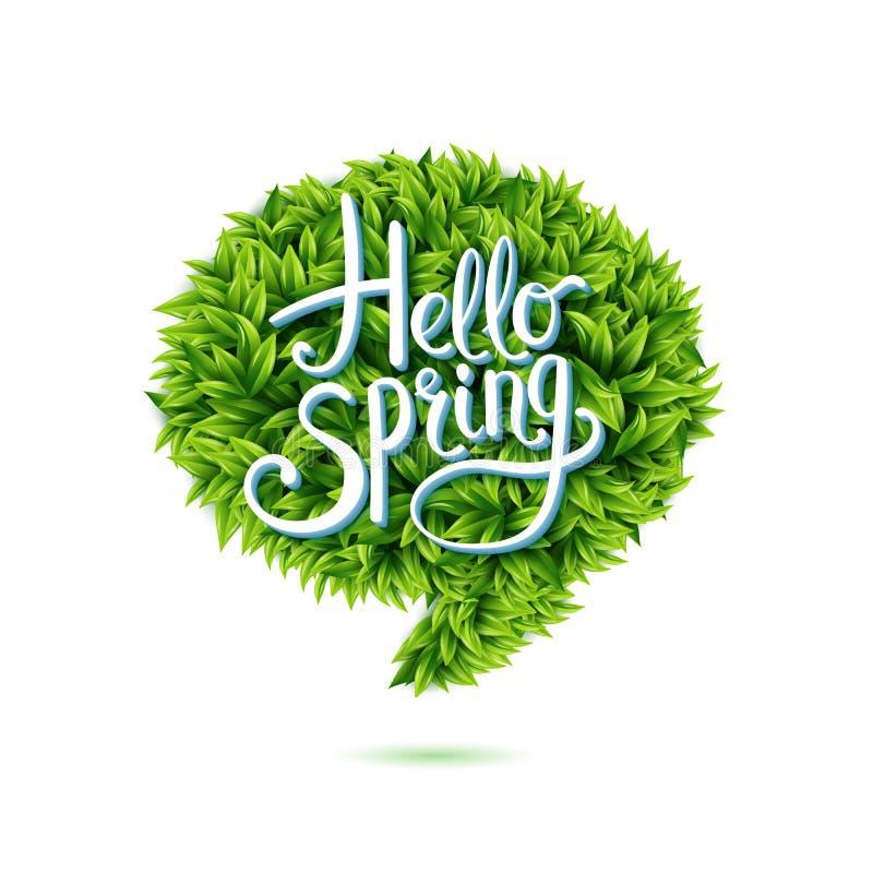 Здравствуйте! пузырь речи весны в зеленых листьях иллюстрация штока