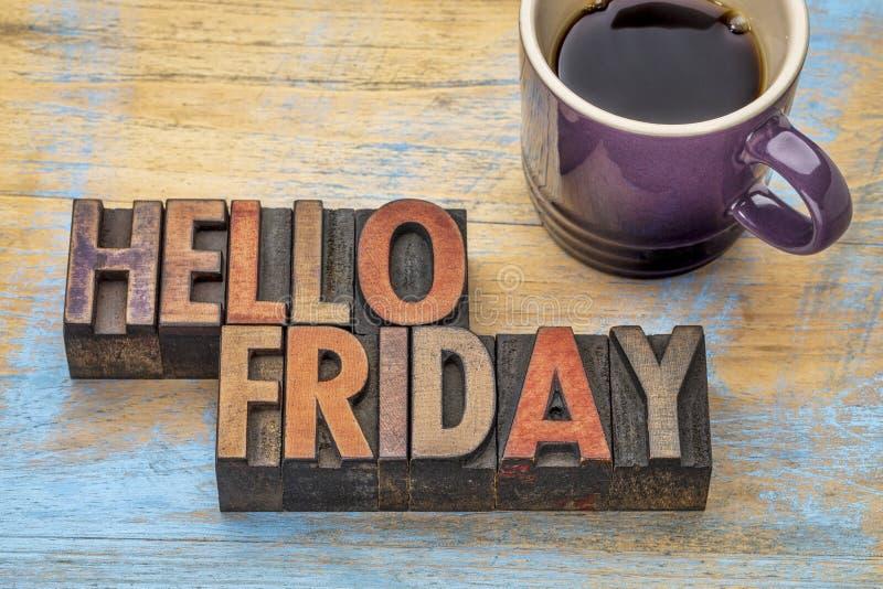 Здравствуйте! пятница в деревянном типе стоковые изображения
