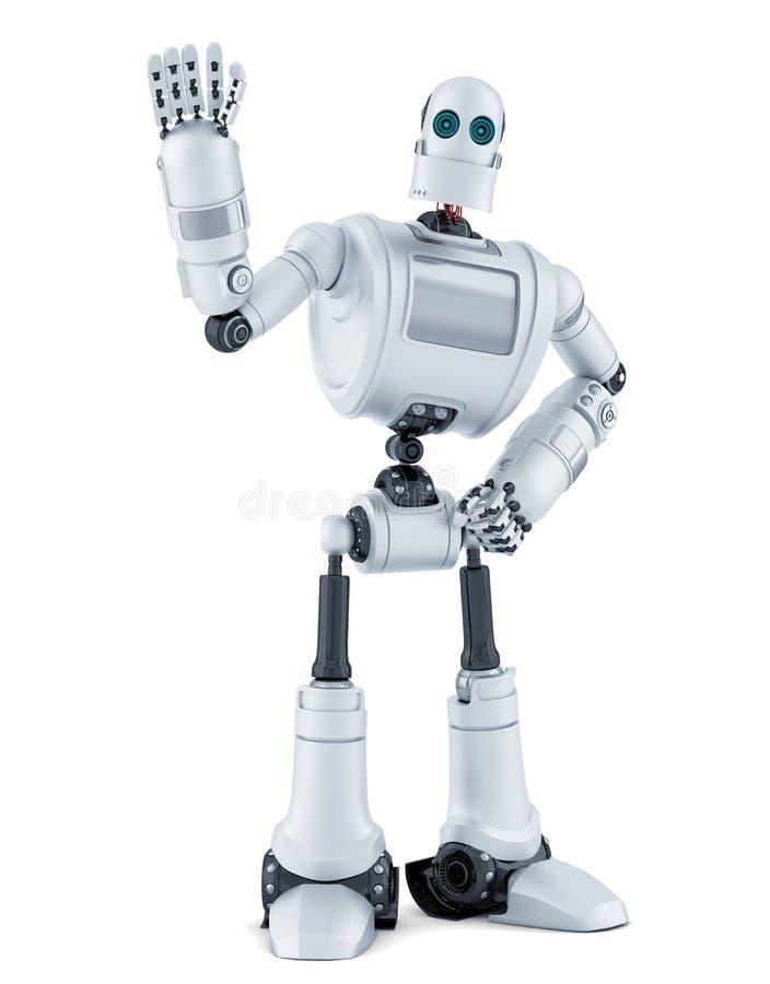 Здравствуйте! робота развевая изолировано Содержит путь клиппирования бесплатная иллюстрация