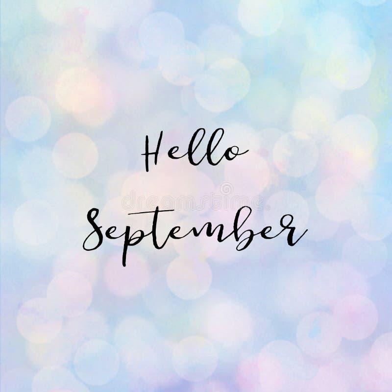 Здравствуйте! текст в сентябре с светом bokeh бесплатная иллюстрация
