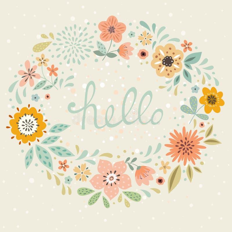 Здравствуйте! флористическая карточка иллюстрация вектора