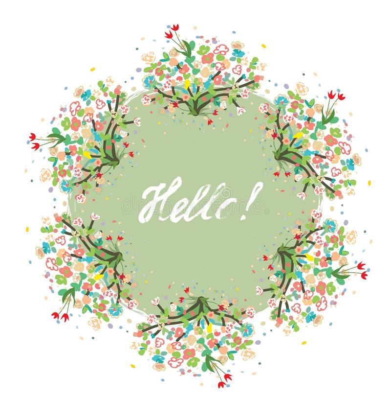 Здравствуйте! флористическая предпосылка для карточки весны или лета - славного дизайна иллюстрация вектора