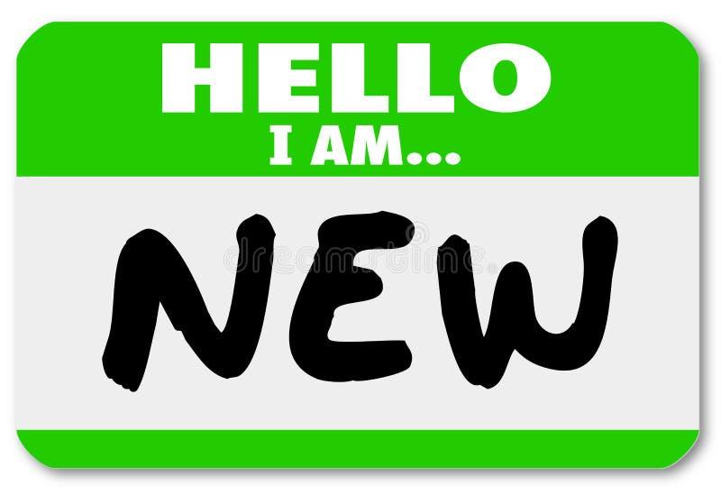Здравствуйте! я новый тренирующая новобранца стикера Nametag иллюстрация штока