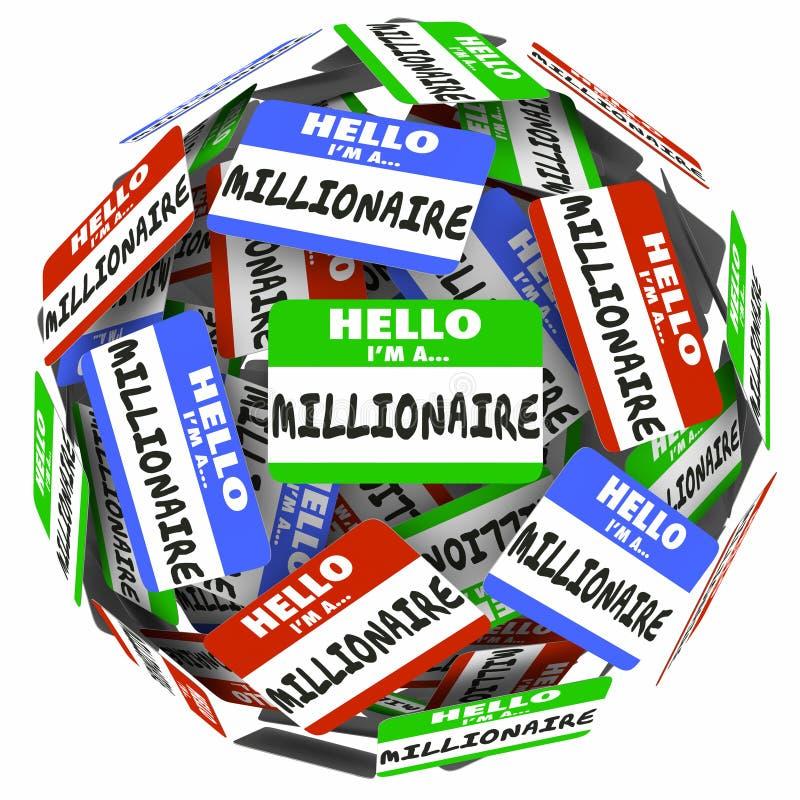 Здравствуйте! я стикер Nametag миллионера сфера зарабатывает деньгам богатый w иллюстрация вектора